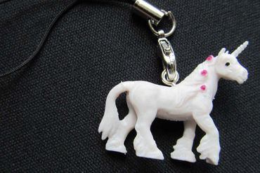 Unicorn Mobile Phone Charm Pendant Miniblings Horse Fairy Tail Myth Fantasy White Dots – Bild 4
