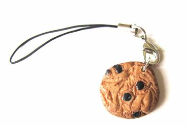 Biscuit Cookie Chocolate Chip Mobile Phone Charm Pendant Miniblings Food Brownie Brown – Bild 1