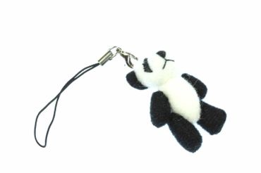 Panda Bear Mobile Phone Charm Pendant Miniblings Teddy Asia Animal Plush White Black – Bild 1