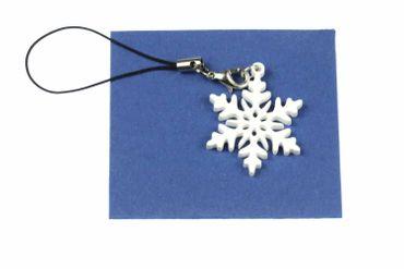 Snowflake Ice Flower Snow Mobile Phone Charm Pendant Miniblings Christmas Acrylic White 3cm – Bild 2