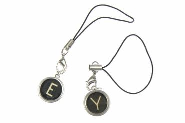 Typewriter Keys Key Letter Mobile Phone Charm Pendant Miniblings Request Letter Customized Initial Black – Bild 3