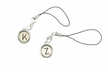 Typewriter Keys Key Letter Mobile Phone Charm Pendant Miniblings Request Letter Customized Initial White – Bild 3