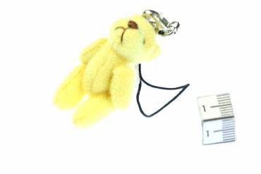 Teddy Bear Mobile Phone Charm Pendant Decoration Miniblings Plush Bear Yellow – Bild 1