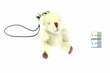 Teddy Bear Mobile Phone Charm Pendant Decoration Miniblings Plush Bear White – Bild 2