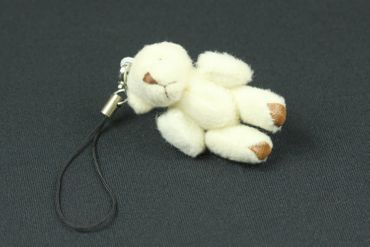 Teddy Bear Mobile Phone Charm Pendant Decoration Miniblings Plush Bear White – Bild 3