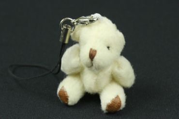 Teddy Bear Mobile Phone Charm Pendant Decoration Miniblings Plush Bear White – Bild 4