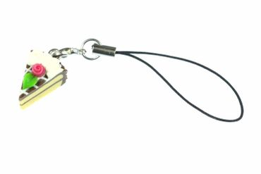 Piece Of Cake Mobile Phone Charm Pendant Miniblings Chocolate Brown – Bild 1