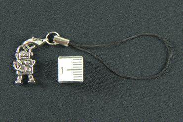 Roboter Handyanhänger Miniblings Handyschmuck Scifi Computer Herz 18mm silber – Bild 2