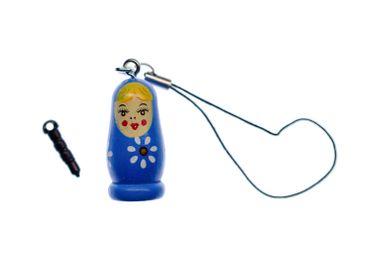 Matroschka Babuschka Handyanhänger Anhänger russische Puppe Holz Bell blau