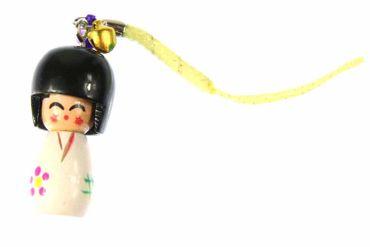 Puppe Geisha Asien Handyanhänger Anhänger asiatische Puppe Holz Bell weiß