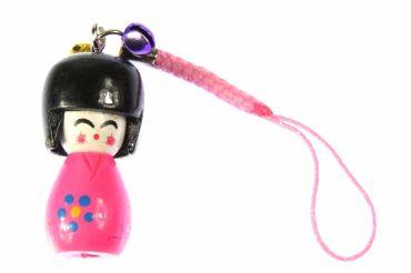 Puppe Geisha Asien Handyanhänger Anhänger asiatische Holz Bell pink KOKESHI