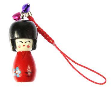 Puppe Geisha Asien Handyanhänger Anhänger asiatische Puppe Holz Bell rot KOKESHI