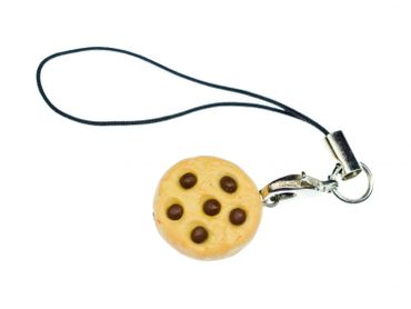 Biscuit Mobile Phone Charm Pendant Miniblings Chocolate Chip Chips Cookies Cake Sweets Bright – Bild 1