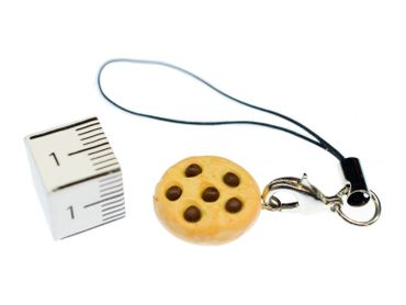 Biscuit Mobile Phone Charm Pendant Miniblings Chocolate Chip Chips Cookies Cake Sweets Bright – Bild 2
