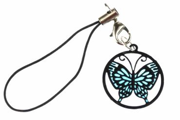 Butterfly Mobile Phone Charm Pendant Jewellery Cell Phone Suncatcher Insect Blue Black Miniblings – Bild 1