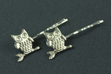 Owls Set Of 2 Hair Clip Hair Pin Clips Pins Hairpins Miniblings Owl Bird Owlet Animal Night Silver – Bild 1