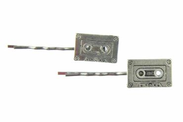 Cassette Tape Set Of 2 Hair Clip Hair Pin Clips Pins Hairpins Miniblings Music Tape Record Retro Silver – Bild 1