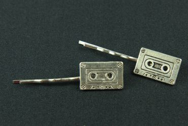 Cassette Tape Set Of 2 Hair Clip Hair Pin Clips Pins Hairpins Miniblings Music Tape Record Retro Silver – Bild 2