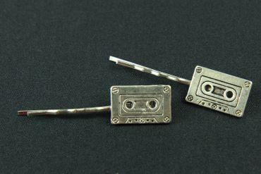 Kassette Tape 2er Set Haarspangen Haarnadeln Miniblings Musikkassette silber – Bild 2