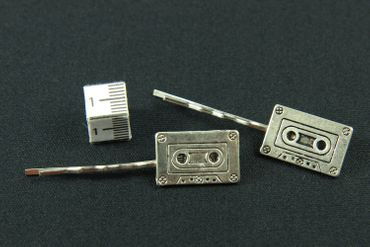 Kassette Tape 2er Set Haarspangen Haarnadeln Miniblings Musikkassette silber – Bild 3