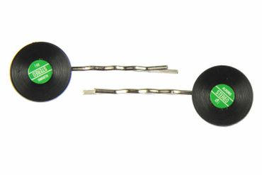 Records Set Of 2 Hair Clip Hair Pin Clips Pins Hairpins Miniblings Record Lp Dj Music Vinyl Green – Bild 1