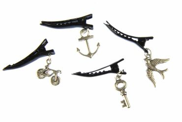 Bird Dove Bicycle Bike Key Anchor Set Of 4 Barrettes Silver Hairpins Miniblings – Bild 1