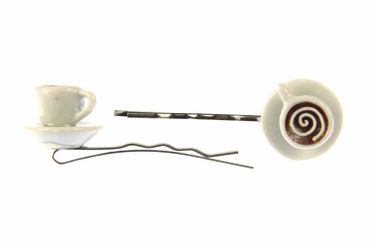 Mugs Set Of 2 Hair Clip Hair Pin Clips Pins Hairpins Miniblings Teacups Cup Of Cappuccino Teatime – Bild 1