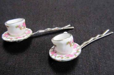 Mugs Set Of 2 Hair Clip Hair Pin Clips Pins Hairpins Miniblings Teacups Cup Teatime Coffee Pink – Bild 3