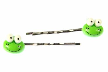 Frog Hair Clip Hair Pin Clips Pins Set Of 2 Hair Clip Hair Pin Clips Pins Miniblings Frogs Toad Animal Children Green – Bild 1