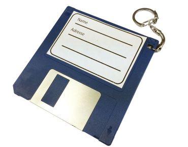 Adressanhänger Taschenanhänger Kofferanhänger Diskette RETRO Disc Floppy BLAU – Bild 1