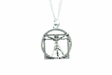 Da Vinci Necklace Miniblings Silver 45cm Vitruvian Man Biology Anathomy – Bild 1