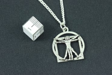 Da Vinci Necklace Miniblings Silver 45cm Vitruvian Man Biology Anathomy – Bild 2