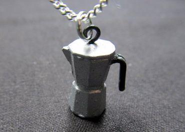 Espresso Kanne Kette Halskette Miniblings 45cm Mokkakanne Kaffee Italien silber – Bild 4