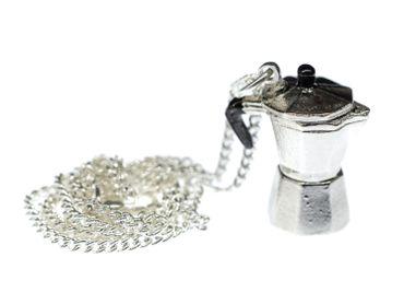 Espresso Kanne Kette Halskette Miniblings 45cm Mokkakanne Kaffee Italien silber – Bild 5