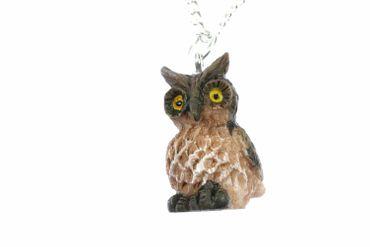 Eule Kette Halskette Miniblings 45cm Eulenkette Eulen Vogel Bird Uhu Kauz braun
