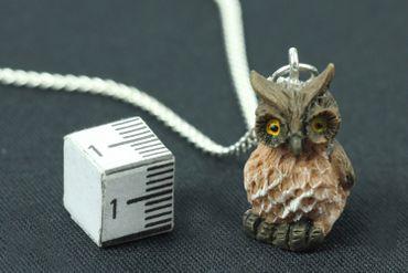 Eule Kette Halskette Miniblings 45cm Eulenkette Eulen Vogel Bird Uhu Kauz braun  – Bild 2