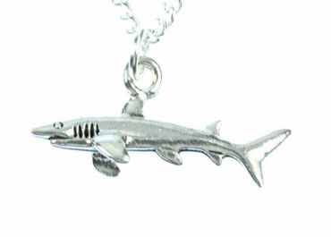 Hai Kette Halskette Miniblings 45cm Haifisch Haifischkette Fisch versilbert – Bild 2