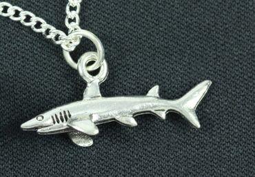 Hai Kette Halskette Miniblings 45cm Haifisch Haifischkette Fisch versilbert – Bild 1