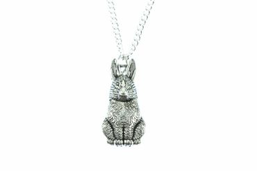 Rabbit Necklace Miniblings Silvered 45cm Bunny Rabbit Hare Rabbit Necklace Easter Bunny – Bild 2