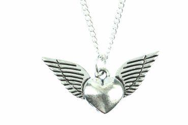 Herz mit Flügeln Kette Halskette Miniblings 45cm Flügel Valentinstag versilbert – Bild 1