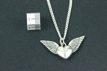 Heart With Wings Necklace Miniblings Silvered Wings 45cm Valentines Day Love Friendship – Bild 2