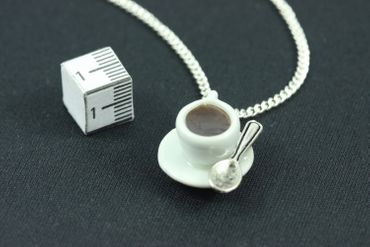 Kaffeetasse Kette Halskette Miniblings 45cm Café Porzellan Kaffee Tasse Löffel – Bild 1
