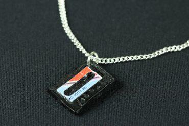 Cassette Necklace Miniblings 45cm Dj Musician Tape Mixtape Record Music Retro 80S Blue – Bild 2