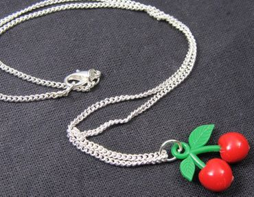 Cherry Necklace Miniblings 45cm Fruit Red Green Plastic Rockabilly Food Summer – Bild 2