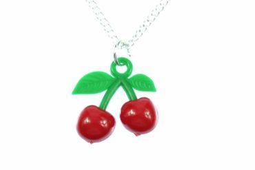 Kirschen Kette Halskette Miniblings 45cm Kirsche Frucht Kirschkette Rot Grün P