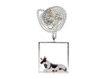 Kuh Diorama Kette Halskette Miniblings 45cm Kühe Rahmen Kuhkette Bauernhof – Bild 3