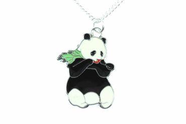 Panda Pandabär Kette Halskette Miniblings 45cm Bär Kinderkette Bambus emailliert