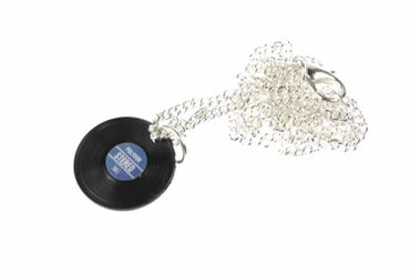 Record Necklace Miniblings 45cm Dj Band Music Lp Vinyl Record Musician Blue – Bild 1