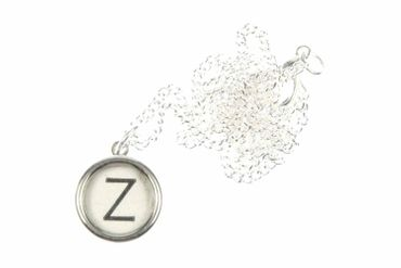 Typewriter Keys Key Ring Link Necklace Miniblings 45cm Request Letter Customized Initial White – Bild 1