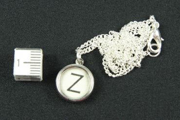 Typewriter Keys Key Chain Key Ring Link Necklace Miniblings 45cm Request Letter Customized Initial White – Bild 3